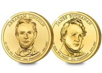 This set contains two Dollar Coins both minted in 2010 and featuring presidents James Buchanan and Abraham Lincoln. Each coin is plated in 24 Carat Gold.