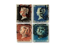 This set of four stamps comprises the very first four British stamps ever issued: the 1840 Penny Black and Twopenny Blue and the 1841 Penny Red and Twopenny Blue. Catalogued at £1397.