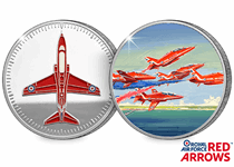 The Red Arrows Silver Plated Medal is officially licensed with the RAF. Reverse features full colour printed design showing the Roll -back manouvre.Obverse features a relief and printed Hawk Aircraft.