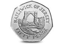 1994 Bailiwick of Jersey 50p coin. Reverse features Grosnez Castle surrounded by the lettering - Bailiwick of Jersey. Obverse features the Arnold Machin engraving of Queen Elizabeth II.