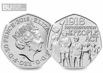 This 50p was issued to celebrate 100 years since the passing of the Representation of the People Act in 1918. Protectively encapsulated and Certified as superior Brilliant Uncirculated quality.