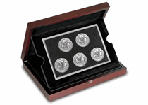 A complete collection containing a Morgan Dollar from each of the five mints where it was struck. Philapdelphia, San Francisco, Denver, New Orleans and the highly sought after Carson City coin.