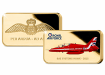 The 24 carat gold-plated ingot issued to mark the Red Arrows 2019 Display Season. With a full colour illustration of the iconic hawk jet and official RAF Wings logo. EL: 19,500. Finish: Proof-like.