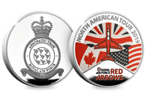 To mark the Red Arrows North America tour, a brand new medal has been issued which has been fully approved by the Red Arrows and RAF. The medal is silver-plated with an EL of 1,000.