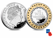 This silver £5 coin is gold plated with the obverse featuring QEII and the reverse featuring the quote 'We will remember them' surrounded by poppies.