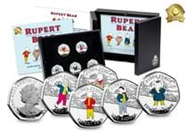 This coin issue commemorates the 100th anniversary of Rupert the Bear who made his first appearance in 1920. Featuring Rupert, Edward, Bill, Algy and Pudgy, all struck from .925 silver.