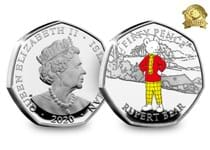 This coin issue commemorates the 100th anniversary of Rupert the Bear, who made his first appearance in 1920. This set contains 5 50p coins with Rupert, Bill, Edward, Algy and Podgy.