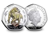 This coloured Silver Proof 50p has been struck by the Royal Mint. It features an anatomically accurate depiction of an Iguanodon Dinosaur. This is the second coin in the Dinosauria 50p collection.