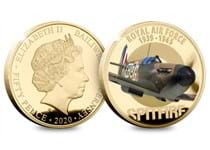 The Official RAF Battle of Britain 80th Anniversary Coin has been plated in 24 carat gold and struck to a flawless Proof finish. Featuring the heroic Supermarine Spitfire depicted in full colour.