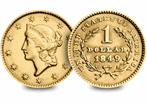 The Liberty Head Gold Dollar was introduced following the discovery of gold in California in 1848. Comes complete in a deluxe wooden presentation case with a certificate of authenticity.