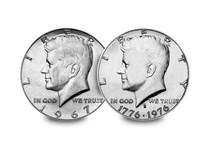 Your delivery includes the 1965-70 JFK 1/2 Dollar (memorial coin ) and the 1976 JFK 1/2 Dollar celebrating 200 years of freedom- for the price of one, you get two coins!