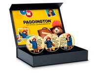The Official Paddington Commemorative Set features 3 commemoratives, in a Deluxe Presentation Box. Plated with 24 carat gold and struck to a Proof finish. Obverse: official Paddington Logo.