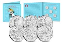 Issued in 2021 this collection features five 50p coins each depicting a character from the Alice in Wonderland book: Alice, the Mad Hatter, the Queen of Hearts, the Cheshire Cat, and the White Rabbit.