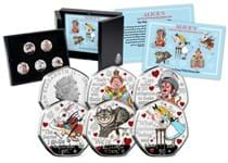 Features five 50p coins depicting chracters from the Alice in Wonderland book: Alice, the Mad Hatter, the Queen of Hearts, the Cheshire Cat, and the White Rabbit. A quote from the book features